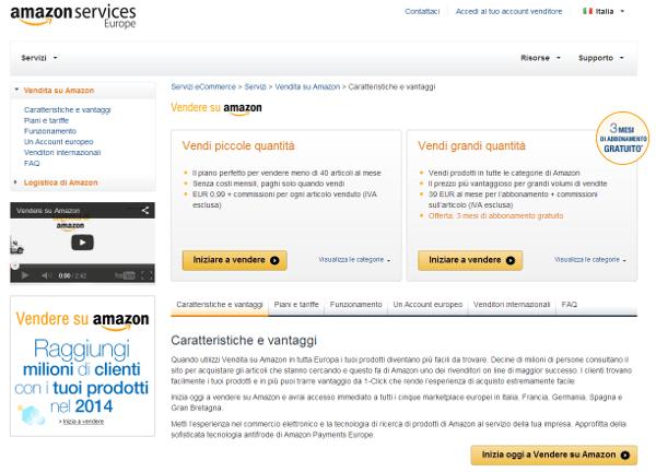 Vendere su Amazon - la schermata principale