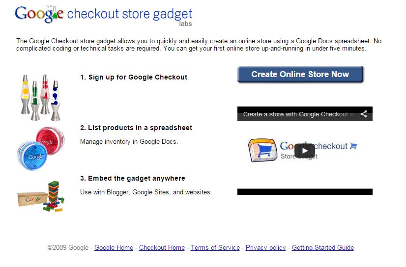 L'home page di Google Check Out Store Gadget