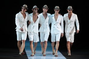 MILAN, ITALY - JUNE 26: Models walk the runway during the Giorgio Armani show as part of Milan Fashion Week Menswear Spring/Summer 2013 on June 26, 2012 in Milan, Italy. (Photo by Vittorio Zunino Celotto/Getty Images)