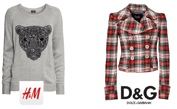 A sinistra maglia con tigrotto H&M, a destra giacca scozzese D&G