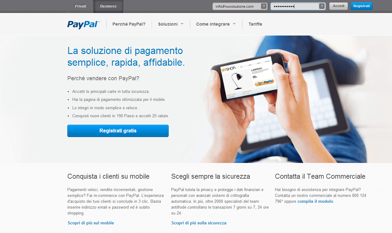 PayPal - Schermata Business