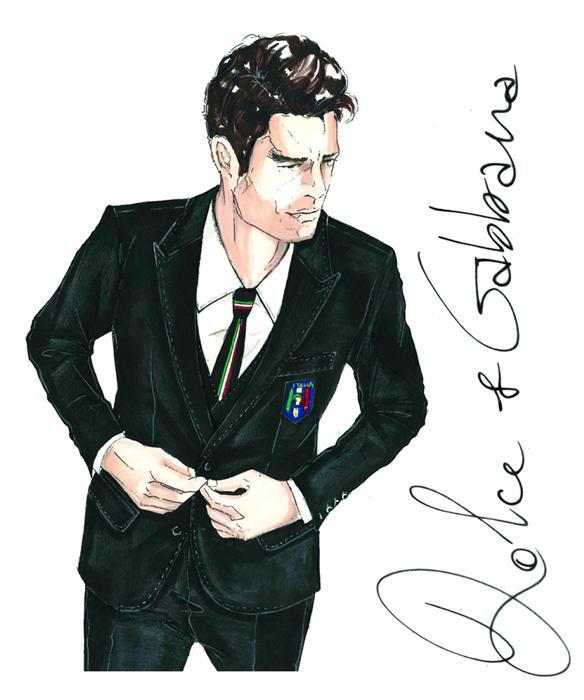 Divisa della nazionale italiana di calcio disegnata da Dolce & Gabbana [fonte: ansa.it]