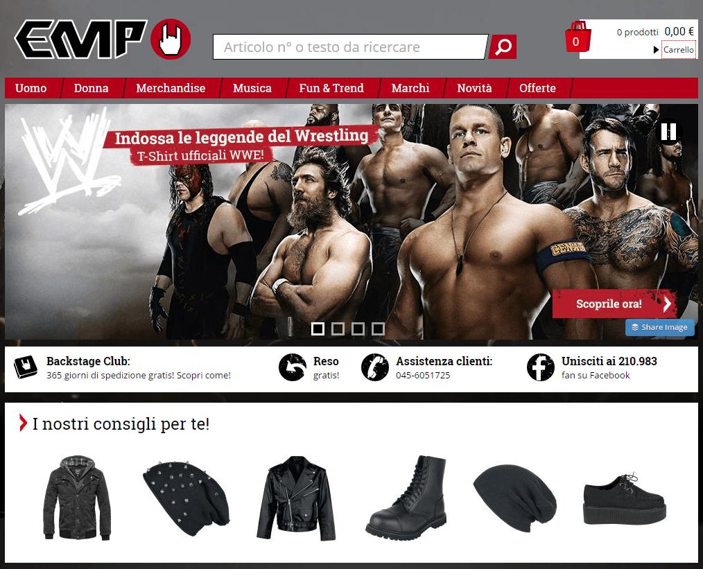 """L'home page del sito emp-online.it - esempio lampante di come il catalogo cartaceo dia """"forza"""" alle vendite online"""